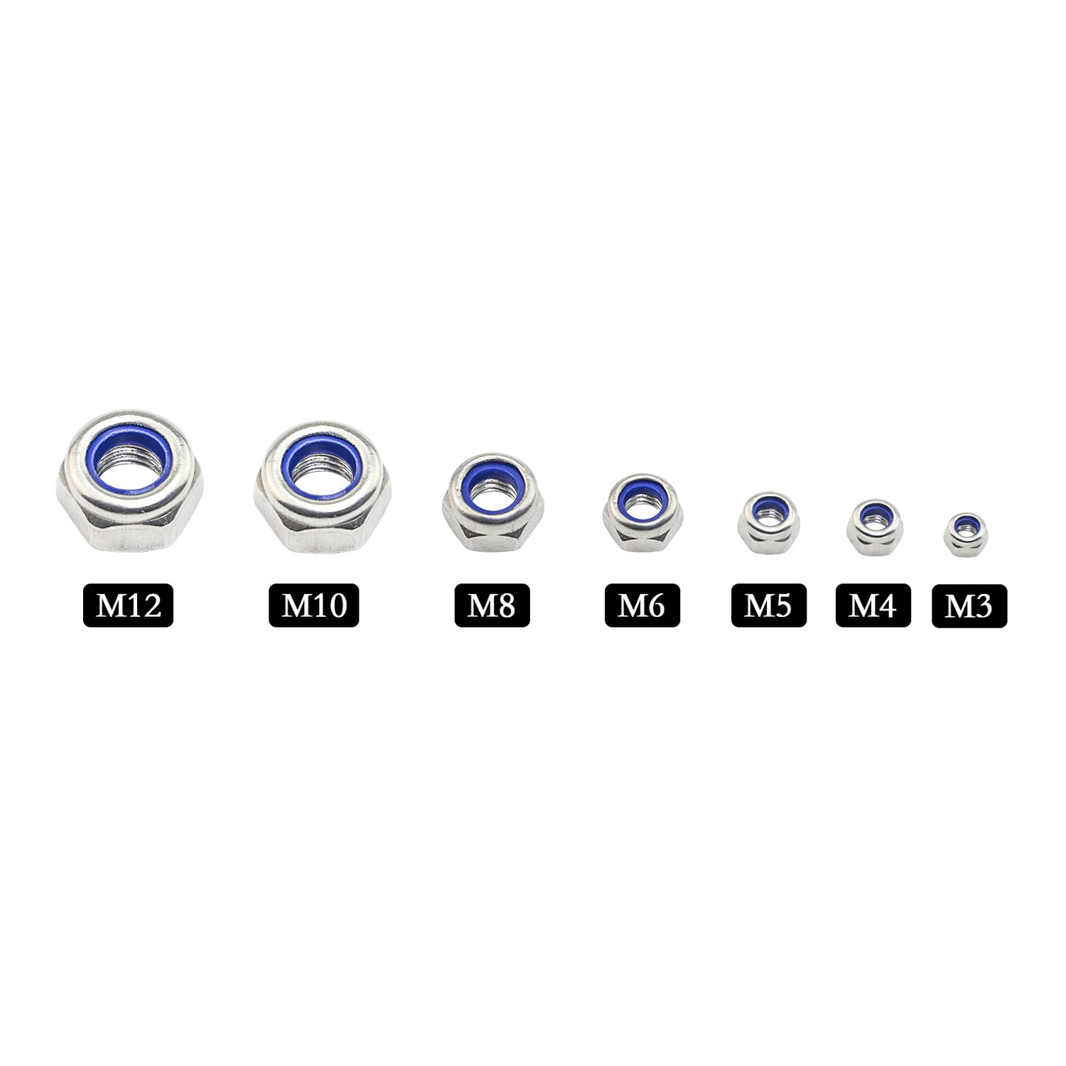Assortment Kit 198 pcs SBest 198Pcs 304 Stainless Steel Metric Lock Nut Assortment Kit Perfect for lock Washers Nylon Insert Locknut M3 M4 M5 M6 M8 M10 M12