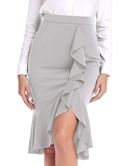 ANGGREK Mujer Lápiz Falda Midi Cintura Alta Vestido Elasticidad ...