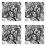 Ambesonne Forest Coaster Set of Four, Forest Tree Branches Modern Design Spooky Horror Movie Themed Artwork Print, Square Hardboard Gloss Coasters for Drinks, Black and White