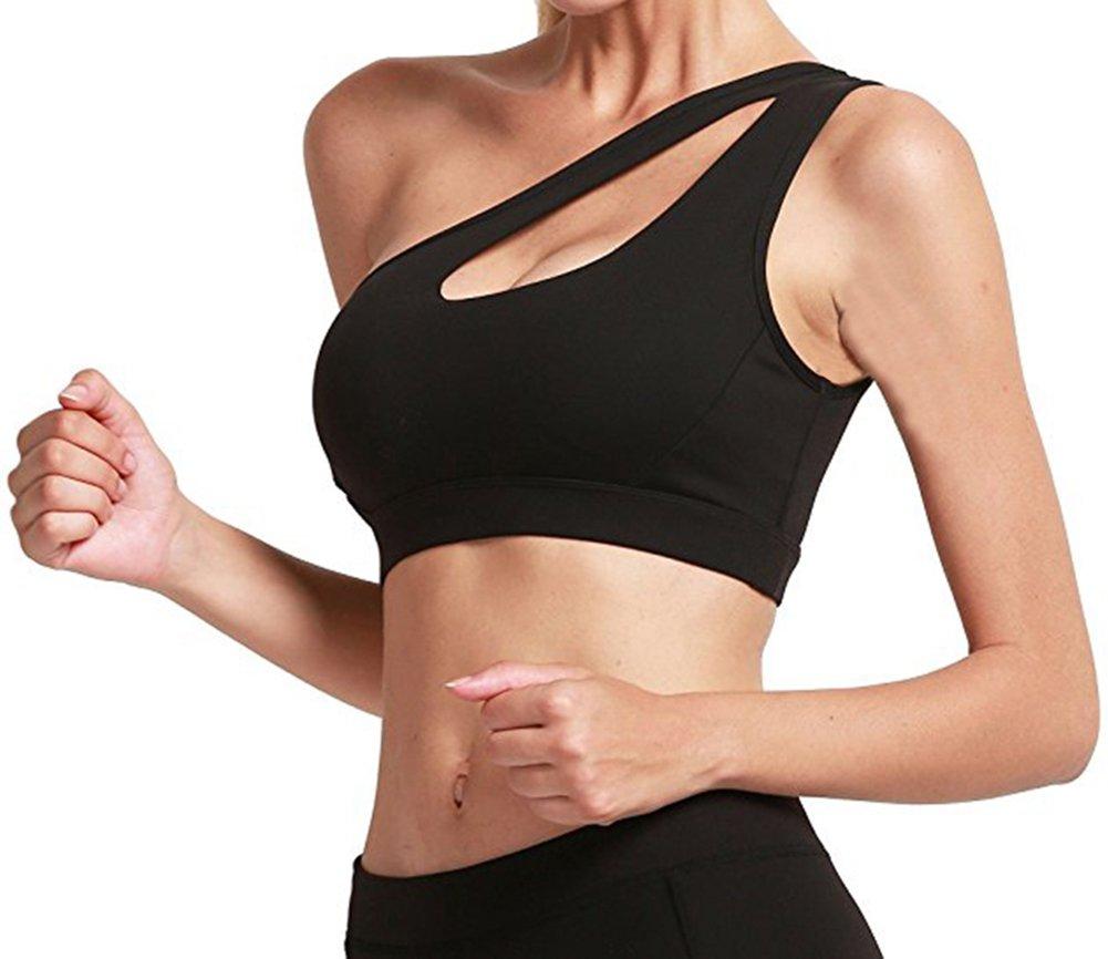Helisopus Womens One Shoulder Sports Bra Cute Sexy High Impact Workout Bra Sports Running Bras,Black,Medium