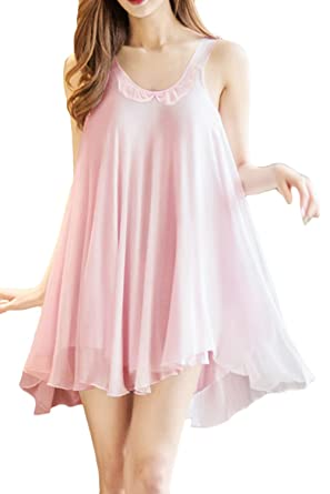 1b3e8e35ba Women s Pajamas Sexy Layered Chiffon Sleepwear Slip Chemises Nightshirt  Dress Sleeveless Robes Pink US XS