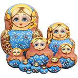 NY Set of 10 PCS Beautiful Girl Russian Nesting Dolls Wooden Handmade Matryoshka