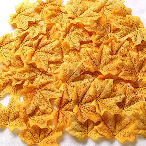 Gresorth Yellow Fake Maple Leaves Fall Wedding Artificial Autumn Leaf Party Events Decoration - 500PCS