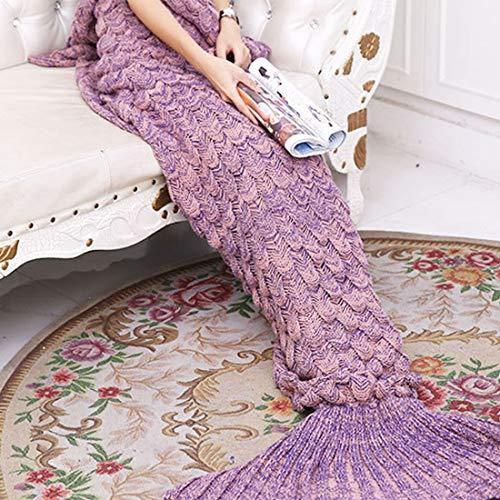 Yowao Mantas de cola de sirena para adultos Patrón hecho a mano de las escalas de pescados que hace punto y Todas las estaciones calientan sus pies bolsa de ...