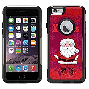 Skin Decal for Otterbox Commuter Apple iPhone 6 Case - Xmas Santa on Red