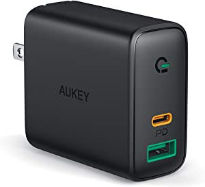 iPhone Fast Charger, AUKEY Focus 30W 2-Port USB C Charger for iPhone 12/12 Mini/12 Pro Max, PD 3.0 Fast Charger, USB C Wall Charger for iPhone 11 Pro Max/8 Plus, Pixel 5, MacBook Air, iPad Pro, Switch