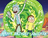 """RICK & MORTY Image Photo Cake Topper Sheet Personalized Custom Customized Birthday Party - 1/4"""" TOPPER - 17086"""