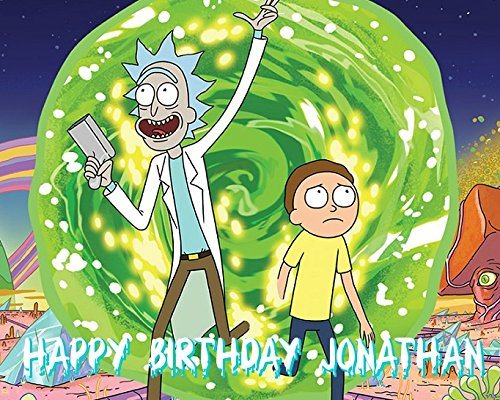 RICK & MORTY Image Photo Cake Topper Sheet Personalized Custom Customized Birthday Party - 1/4