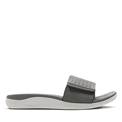 Clarks Men's Garratt Slide Grey Nubuck Leather Sandals 11 UK