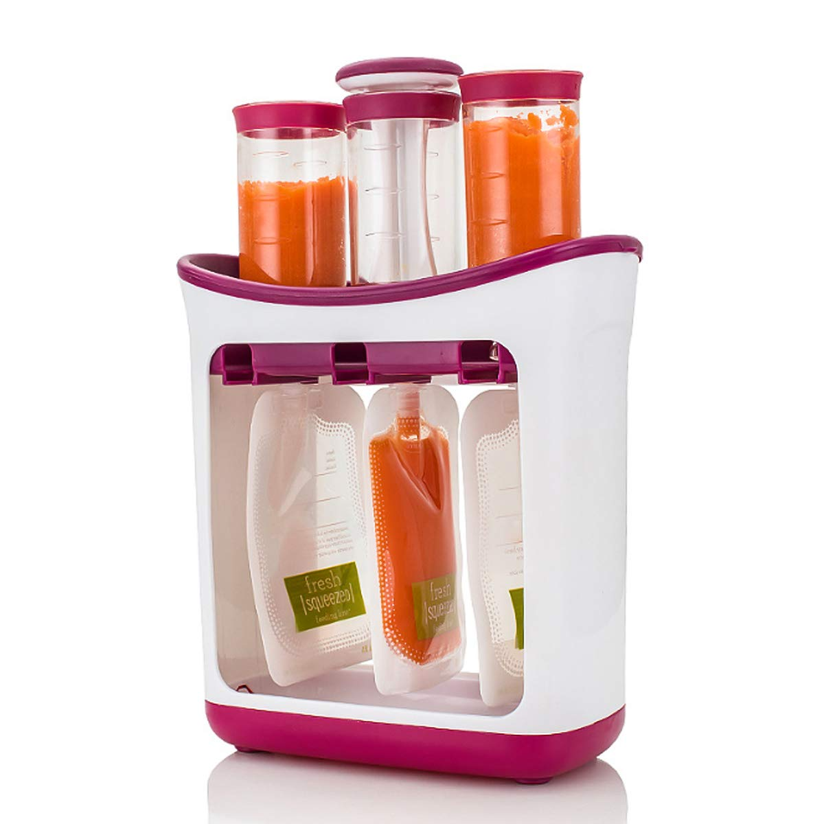 PUSEKY Baby Food Squeeze Station Homemade Fresh Fruit Juicer Infant Toddler Food Maker with Storage Bags