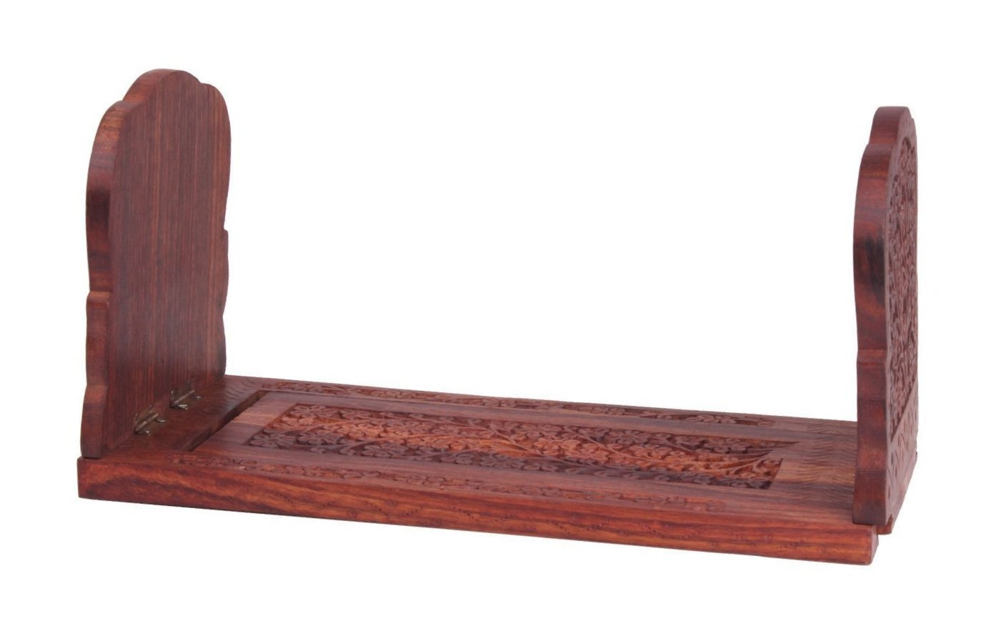Valentine Day Special Present, Wooden Expandable & Foldable Rosewood Book or CD Stand with Intricate Floral Carvings,book stand for reading, 13 x 5 x 6
