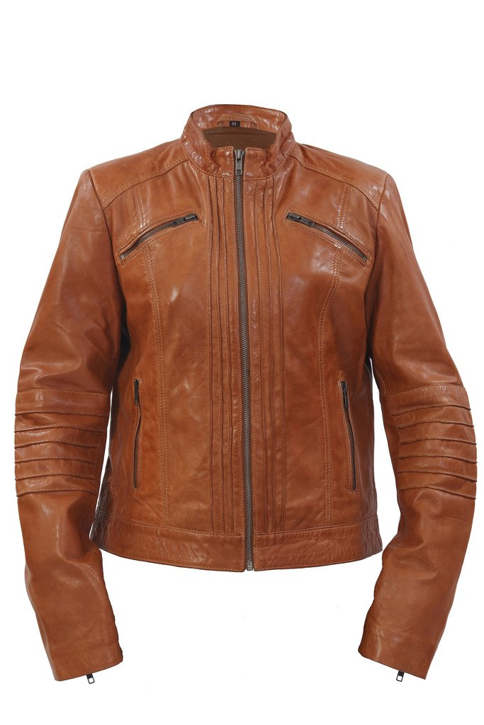 Ladies 100% Leather Jacket Tan Pleated Brando Biker Style Chinese Collar 10