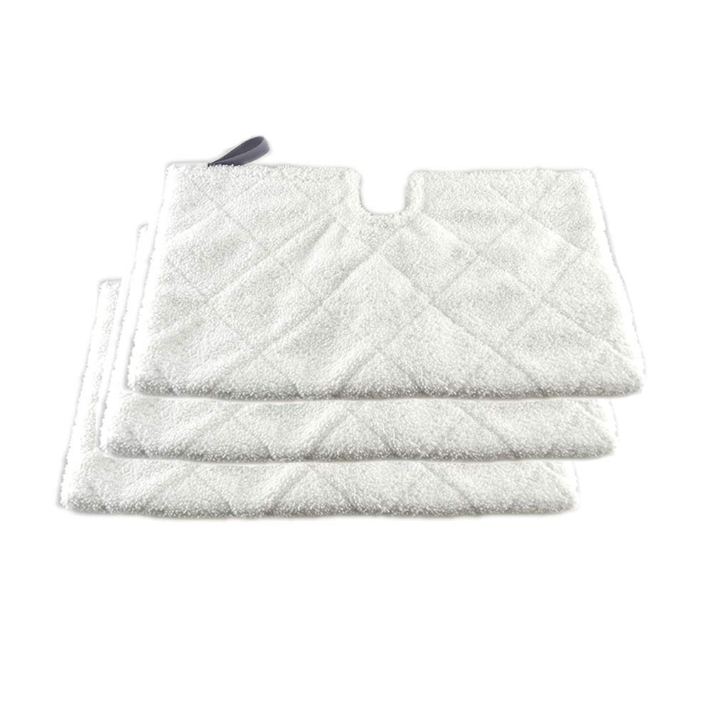 Turbokey 3 Pocket Steam Mop Pads Double-Sided Rectangle Microfiber Refill Pad for Shark Euro Pro Mops S3500 Series,S2902,S3455K,S3501,S3550,S3601,S3801,S3901,S4601,S4701,S4701D,SE450(White)
