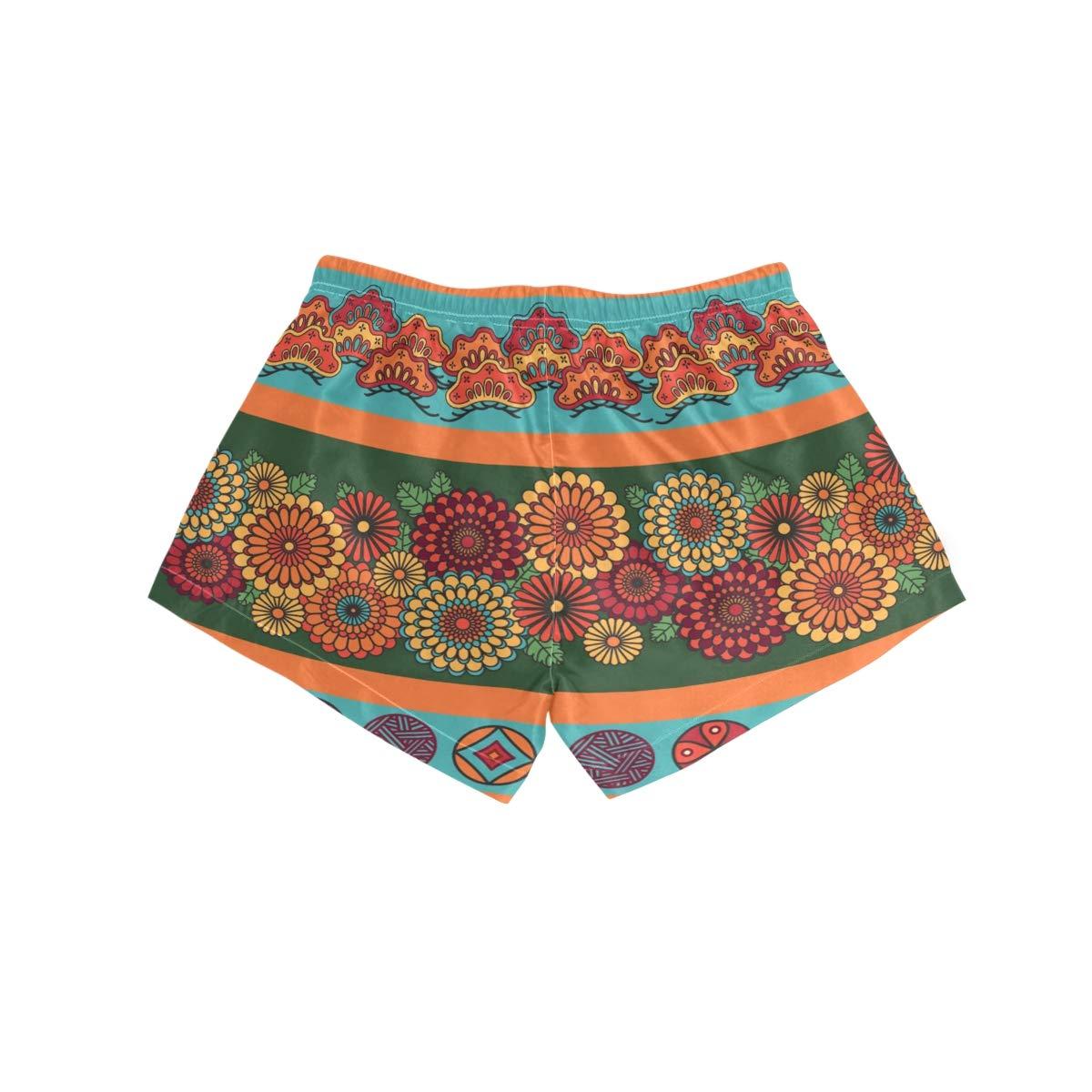 FORMRS Womens Swim Retro Pattern Board Shorts Bottom Beach Short Trunk Swimwear with Drawstring
