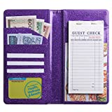 Big Size 5'' X 9'' Glitter Purple Server Book for Waitress Waiter, Server Wallet Waitstaff Organizer Fit Waitress Apron