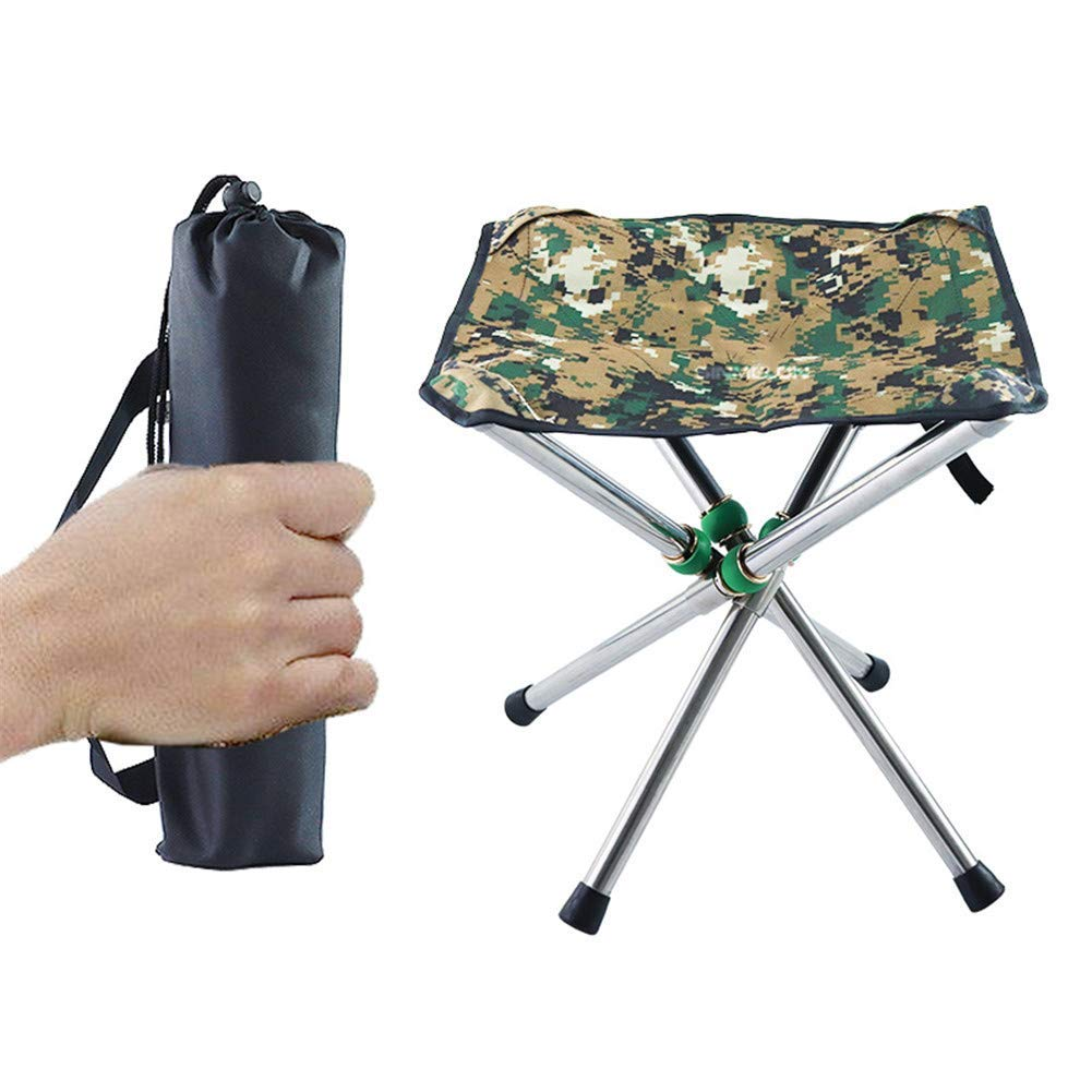 Outdoor Portable Folding Four-Legged Chair Camping Bench Small Mazar Multi-Functional Lightweight Casual Comfortable Safety Picnic Travel Fishing Mountaineering BBQ Park Garden Beach 2