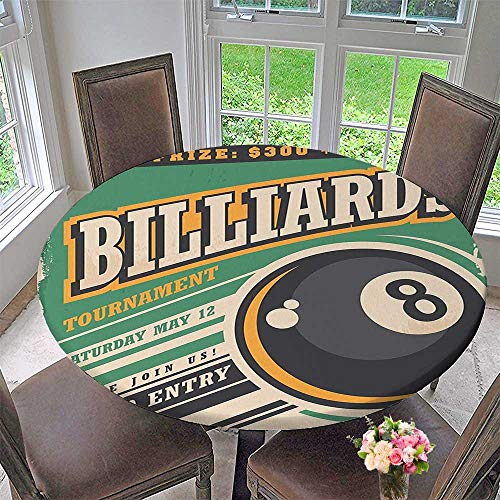 Mikihome Premium Tablecloth Advertisement with Billiard Balls Form Grand Prize Hobby Game Play Sports Everyday Use 50