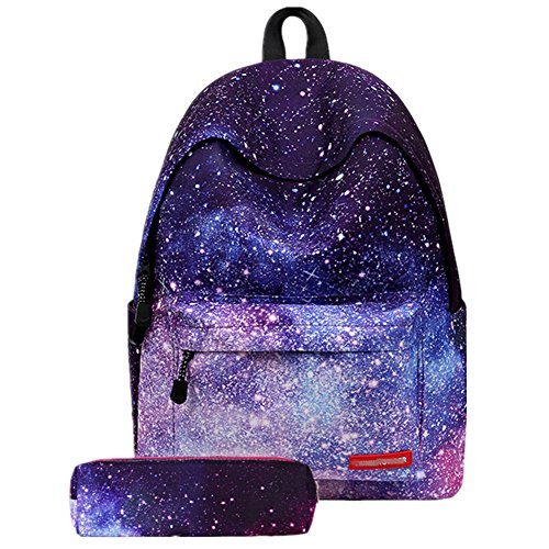 Fashion Stars Striped Flower Print School Backpack with Pencil Case for Boys Girls and Kids (Galaxy)