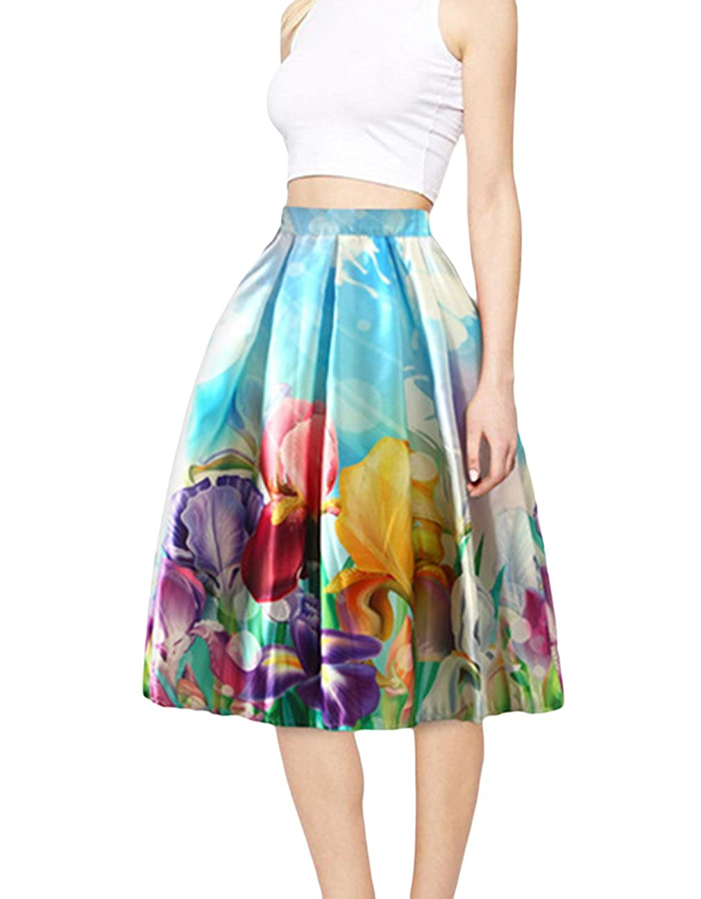 Jixin4you Geblümt Damen Knielang Sommerrock Faltenrock Skater-Rock Vintage Röcke mit Mehren Farben JX4U180124700