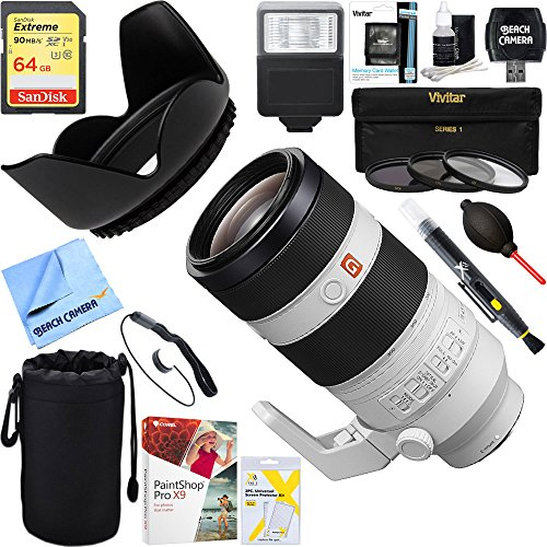 Sony (SEL100400GM) FE 100-400mm f/4.5-5.6 GM OSS Full Frame E-Mount Lens + 64GB Ultimate Filter & Flash Photography Bundle by Sony