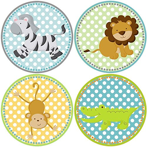 Colorful Zoo Animal - Safari Zoo Animals Sticker Labels - Boy Girl Birthday Baby Shower Party Favor Labels - Set of 50
