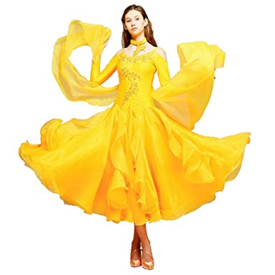 Amazon.com: YUMEIREN Yellow Ballroom Dance Dress Plus Size: Clothing