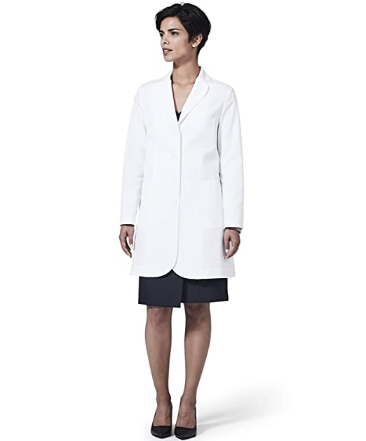 Medelita Womens Ellody Petite Slim Fit M3 White Lab Coat Professional Fit with Performance Fabric