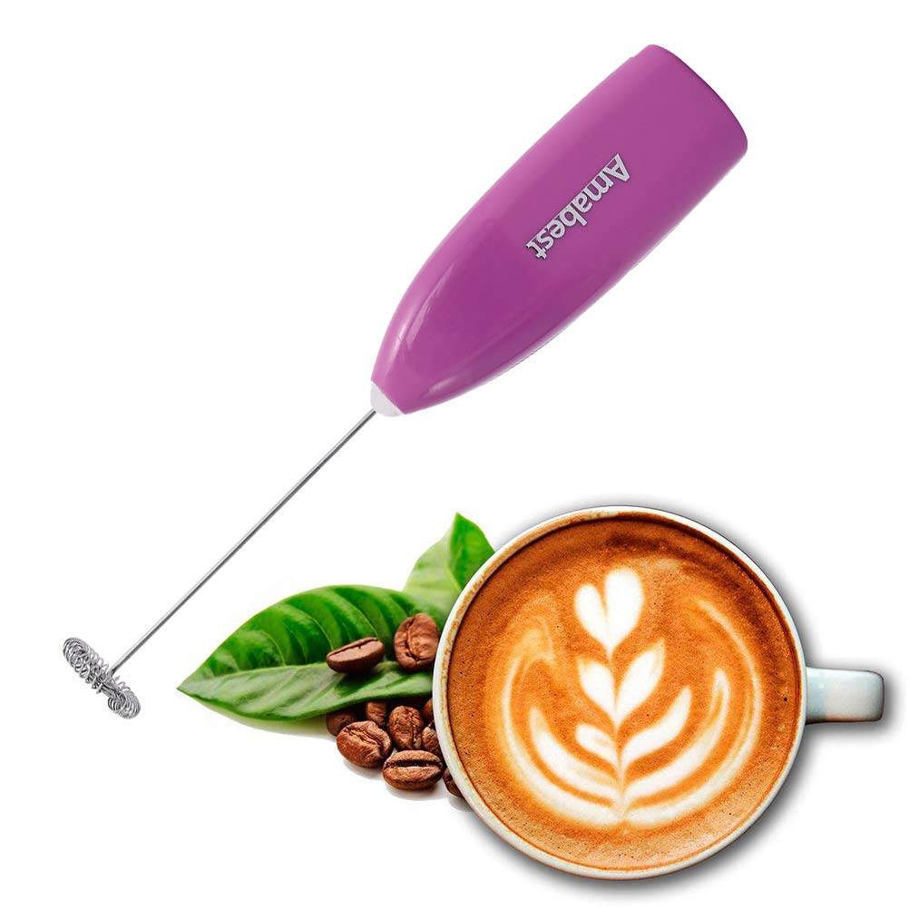Blue Amabest Mini Handheld Electric Milk Frother Wand Foam Maker Cappuccino Frother Latte Frother Coffee Frother Hand Mixer Egg Beater