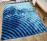 Shag Shaggy Fluffy Fuzzy Furry 3D Modern Contemporary Decorative Designer High Qulity Pile Shimmer Handmade Hand Woven Light Blue Dark Blue Two Tone Color Area Rug Carpet 5×7 Sale ( SAD 274 Blue )