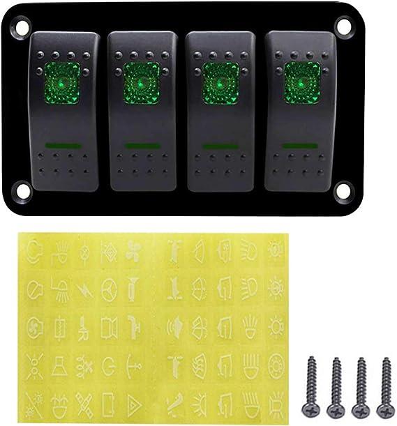 12v 4 Gang Schalttafel Led Lichtschalter Für Auto Boot Marine Rv Truck Camper Fahrzeuge Grün Auto