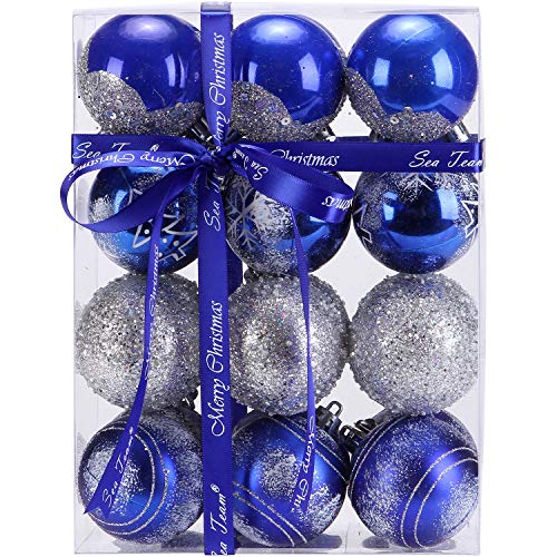 Sea Team 60mm/2.36 Delicate Painting & Glittering Shatterproof Christmas Balls Decorative Hanging Christmas Ornaments Baubles Set for Xmas Tree - 24 Counts (Blue)