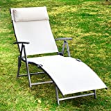 Outsunny Heavy-Duty Adjustable Folding Reclining Chair Outdoor Sun Lounger Patio Chaise Lounge Garden Beach Gravity Lounge with Pillow Cream