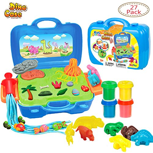 Deardeer 23 Pieces Deluxe Dinosaur Play Dough Set with 4 Large Cups Clay Dough for Kids in a Little Suitcase (Play Dough Color is Random)]()