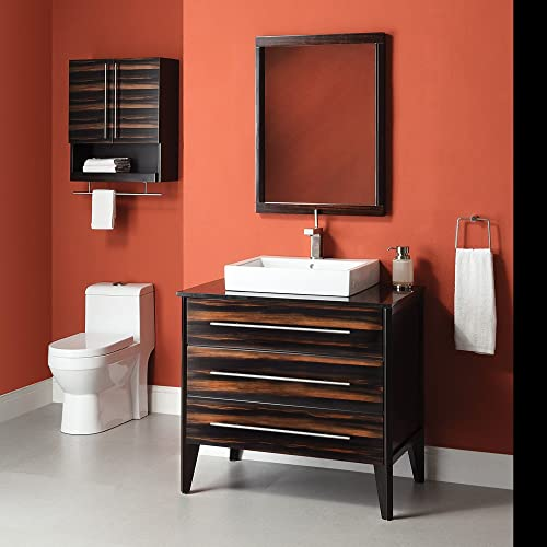 DECOLAV 5260-EES Mila Vanity Console with Black Granite Top and Above Counter Lavatory Sink, Ebony and Espresso