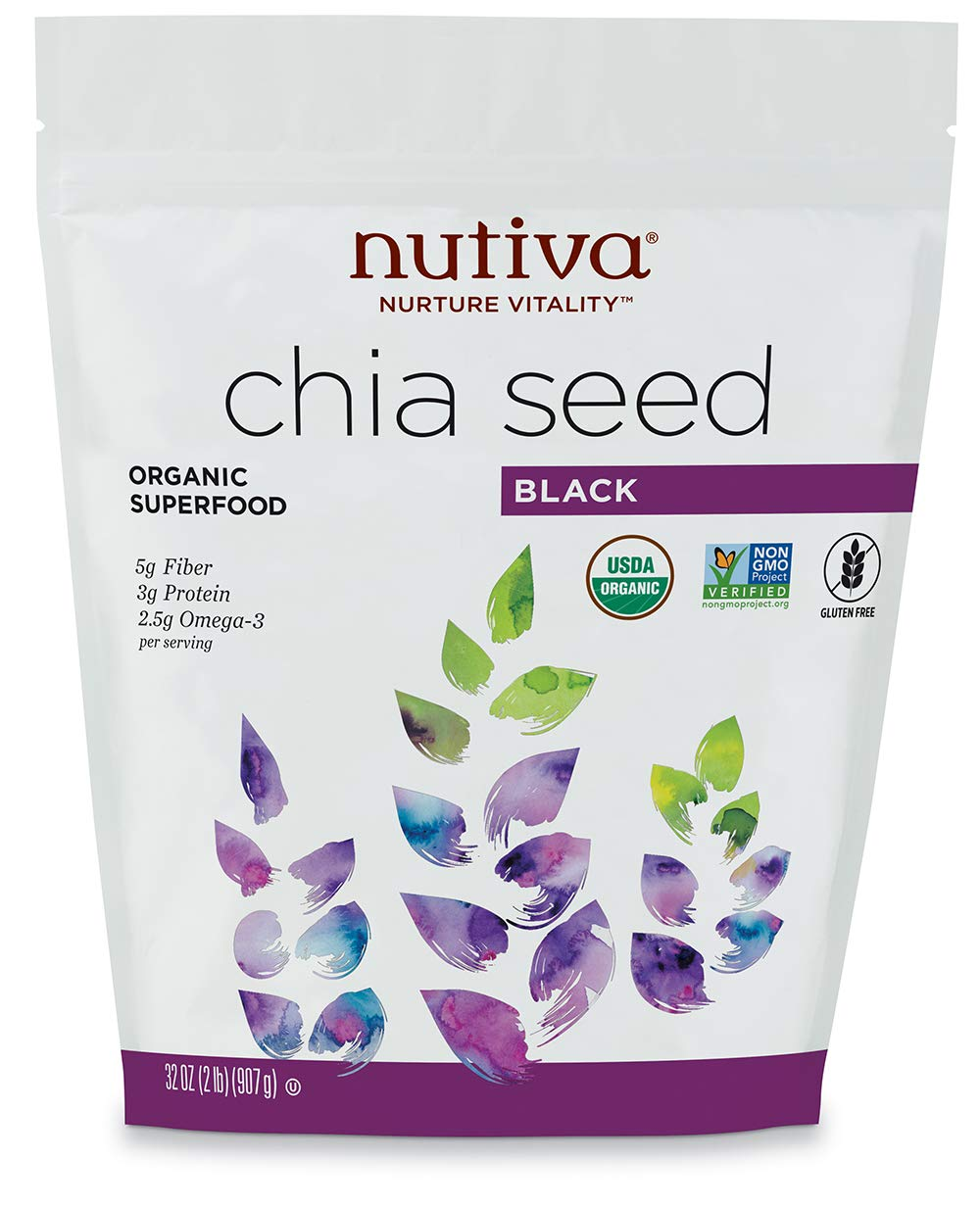 Semilla de chía orgánica, Negro, de 32 oz (907 g) - Nutiva ...