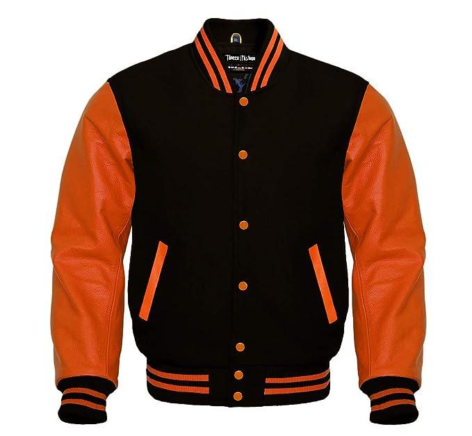 Amazon.com: Varsity - Chaqueta de lana negra y piel naranja ...