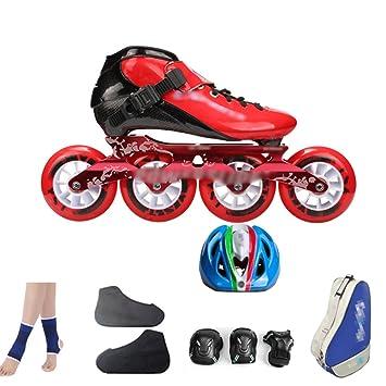 Patines En Línea Zapatos De Patinaje De Velocidad De Fibra De Carbono, Niños Adultos, Ruedas Grandes, Ruedas, Zapatos De Rodillos,RedB-45: Amazon.es: Hogar