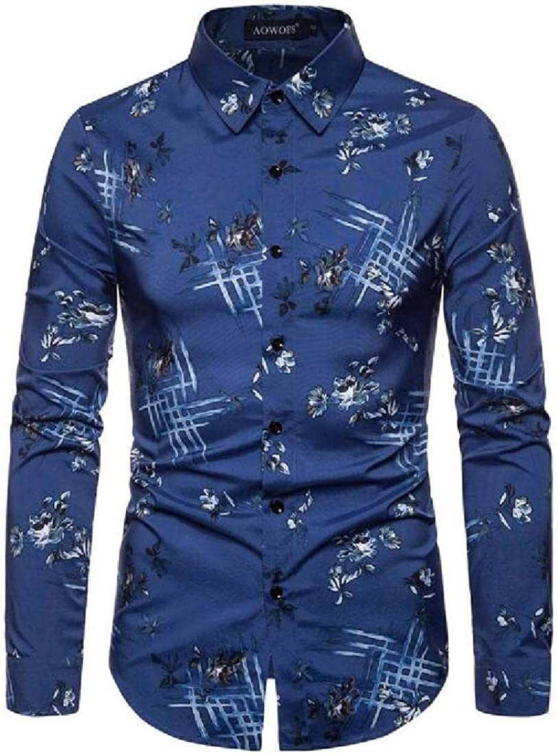 Domple Mens Casual Business Lapel Printed Long Sleeve Slim Button Down Dress Shirt