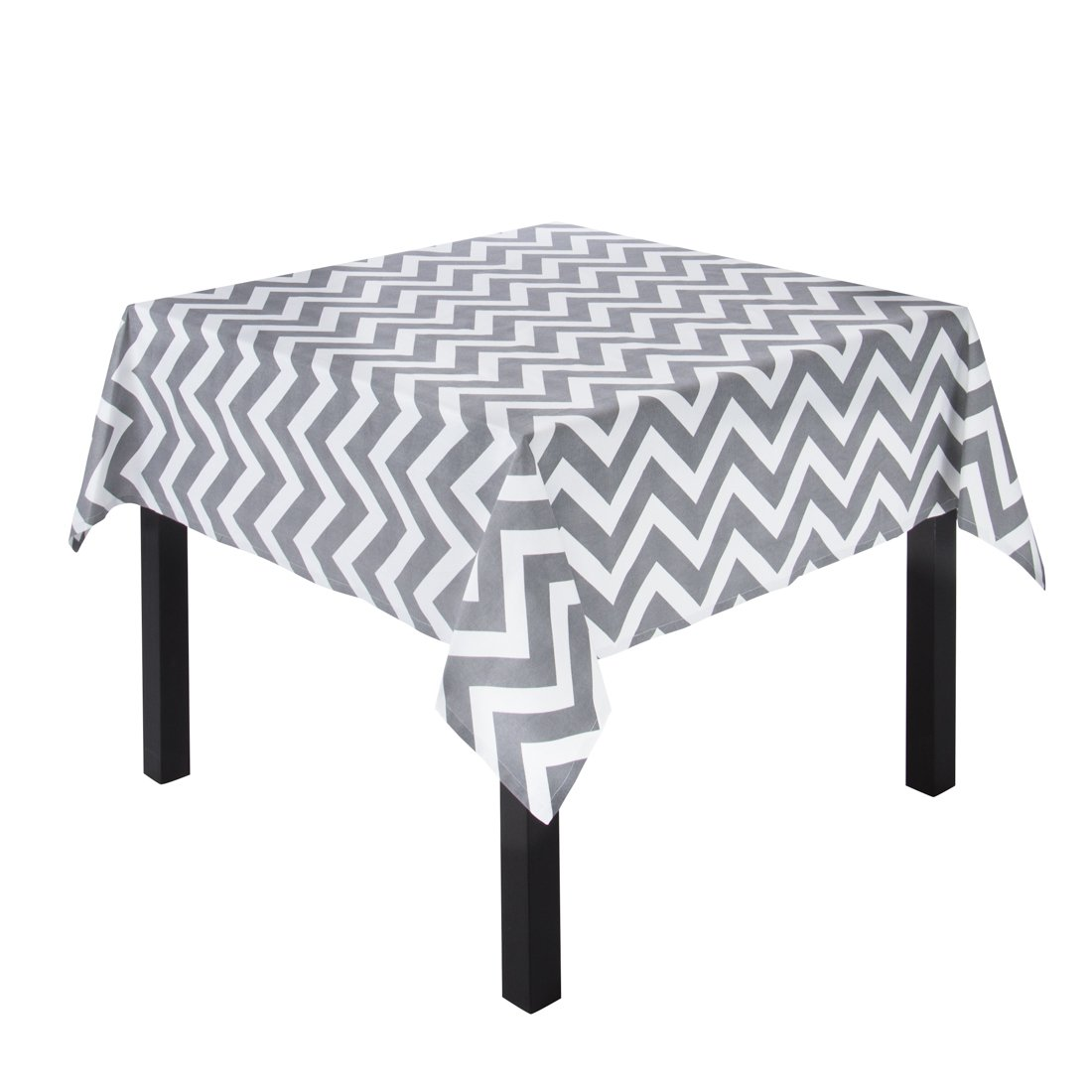 LinenTablecloth Charcoal and White Chevron Square Cotton Tablecloth, 60-Inch 60SQR-054414