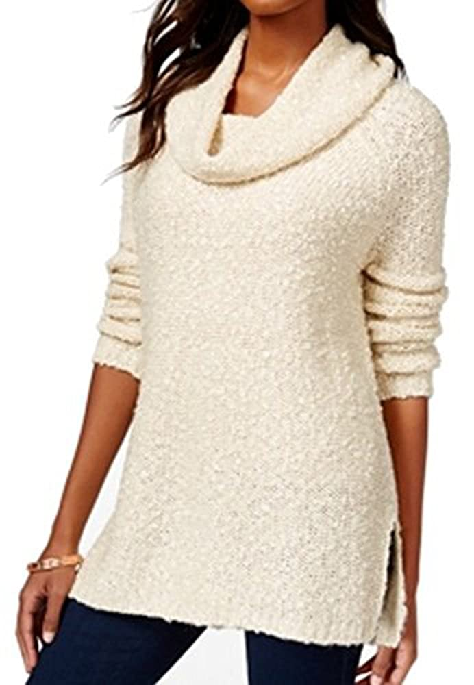 M Oatmeal American Rag Womens Cowl Neck Long Sleeve Sweater