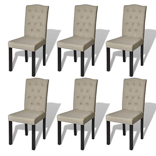 vidaXL Bois Massif 6x Chaise de Salle à Manger Salon Beige Chaises de Cuisine