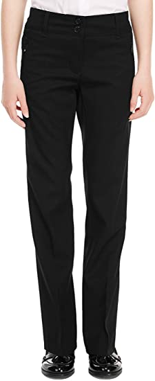 EX M/&S Girls Slim Leg School Trouser Ages 3-16 Black Grey Navy Adujstable Elasticated Waist