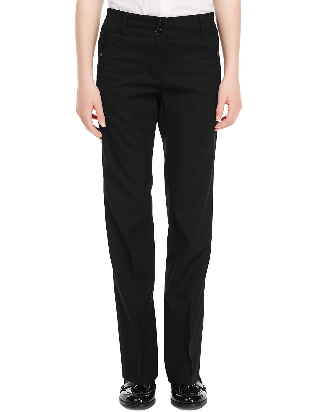 Ex Dunnes Stores Girls Slim Leg School Trouser Ages 3-16 Black Grey Navy + Adujstable Waist - Narrow Leg