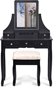 Decok Makeup Vanity Set with 5 Drawers & Cushioned Stool, Black Vanity Table with HD Mirror & Removable Makeup Organizer,Wood