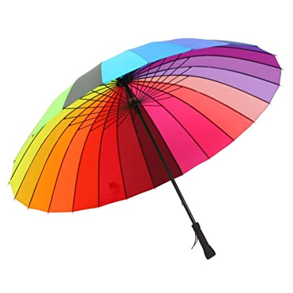 FAFY Paraguas 24 Costillas A Prueba De Viento Paraguas Manuales Mango Paraguas para Las Mujeres