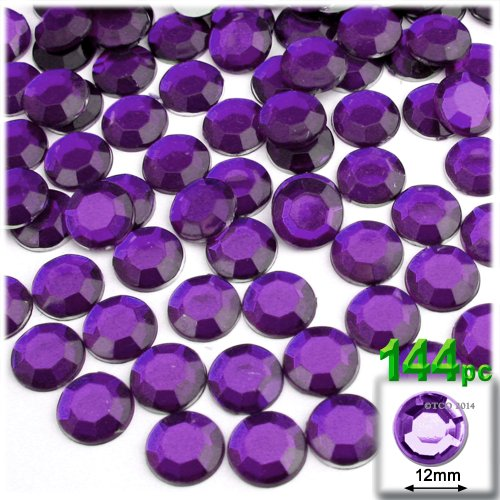 The Crafts Outlet 144-Piece Round Rhinestones, 12mm, Purple Amethyst