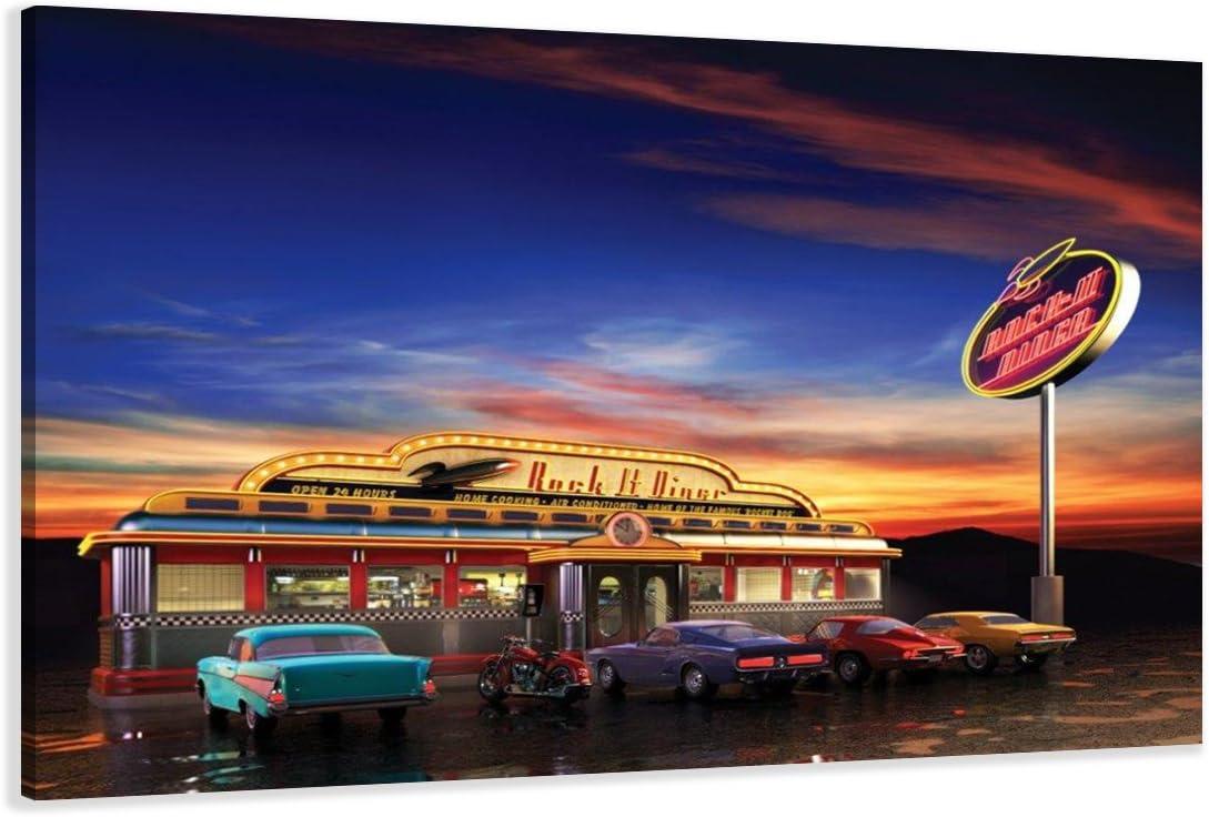 Cuadros en Lienzo Diner USA 80 x 60 cm Modelo Nr. 4148 XXL Las imágenes Estan Listas, enmarcadas en Marcos de Madera auténtica. El diseño de la impresión artística como un Mural Enmarcado.