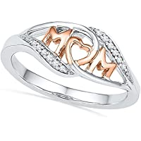 JUST N1 18K Rose Gold Love Mom Heart Zircon Ring Mom's Gift on Birthday Mother's Day Jewelry,Size 5-10