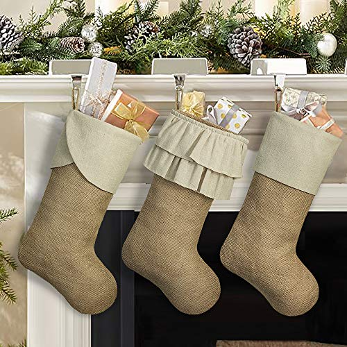 Ivenf Christmas Stockings, 3 Pack 18 inches Large Burlap Stockings with Cream Ruffle Cuff, Fireplace Hanging Stockings for Xmas Party Decorations Home Dcor