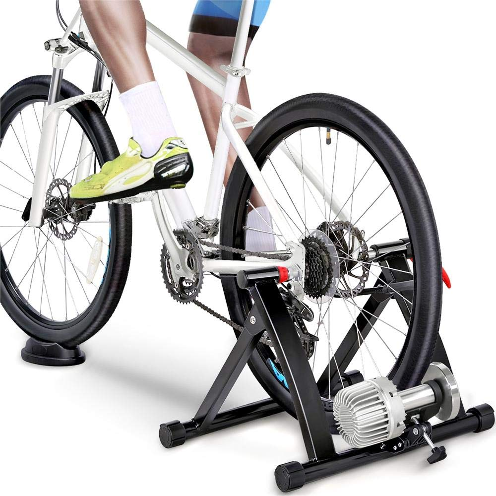 Topeakmart Indoor Bicycle Bike Trainer Exercise Stand Training Wheels Resistance Stationary w Quick Release Skewer Front Wheel Block